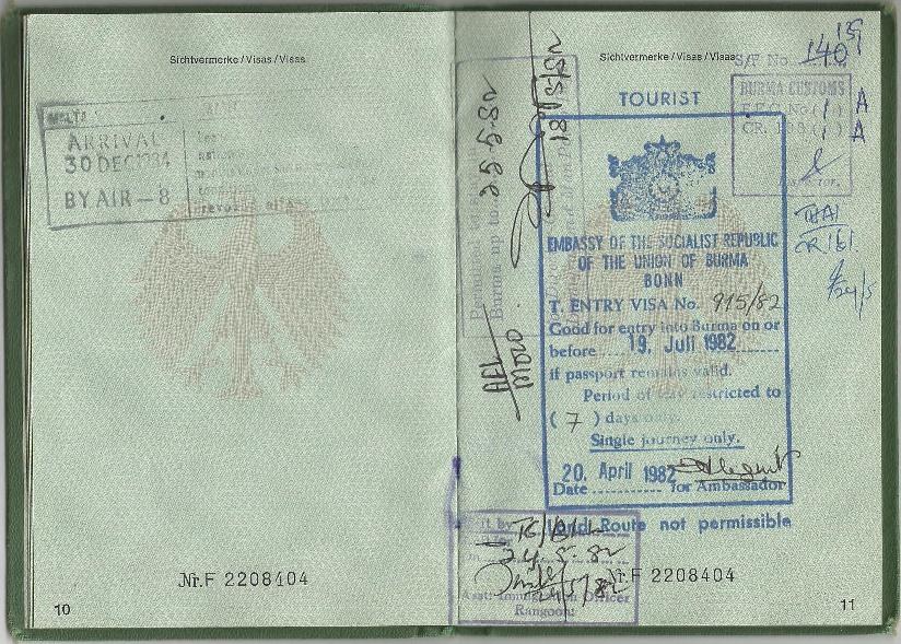 Visum Myanmar Burma 1982